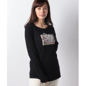 (SISLEY/シスレー)プリント長袖Tシャツ・カットソー/レディース ブラック