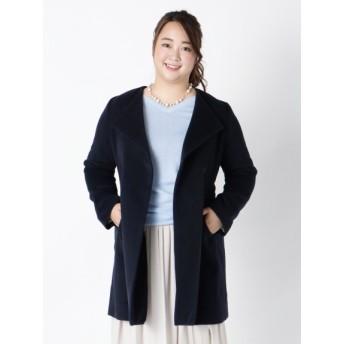 【大きいサイズレディース】冬物【L-LL】ゆったりサイズ!ウール混ベルト付ガウン風コート アウター ウールコート
