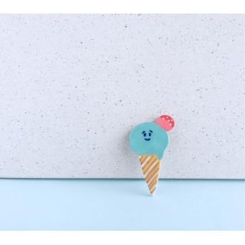 ソーダ味の夏色アイスクリームくんブローチ【受注生産】