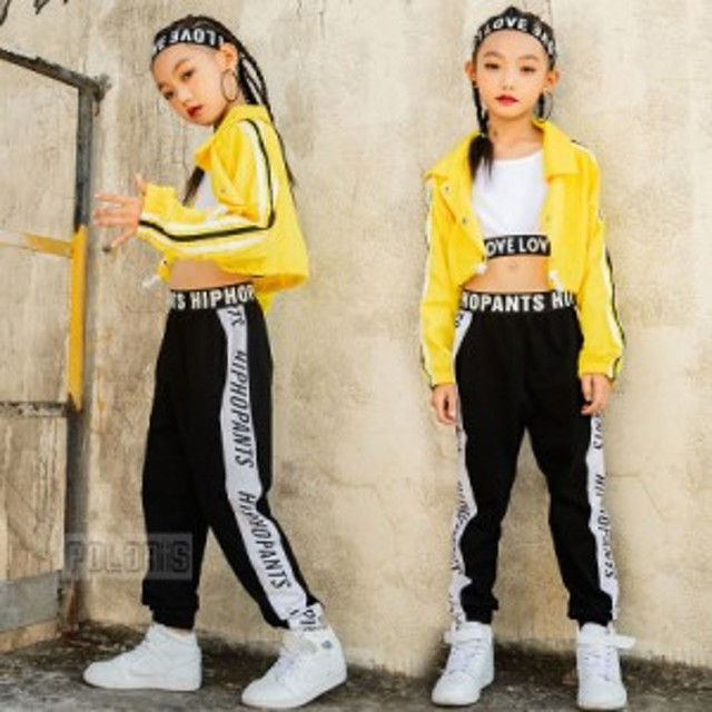 キッズ ダンス衣装 セットアップ 女の子 ヒップホップ HIPHOP スポーツウェア ショート丈 ジャケット ズボン ステージ衣装 練習着 舞台