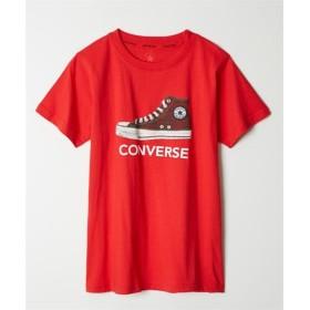 【コンバース】刺しゅう風発泡プリント半袖Tシャツ(ブランドロゴ) (Tシャツ・カットソー)(レディース)T-shirts