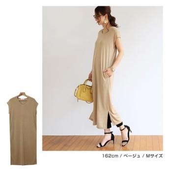 Vネックフレンチスリーブワンピース (ワンピース),dress