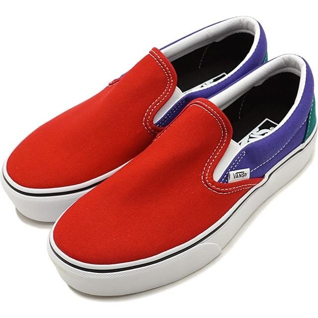 【日本正規品】バンズ VANS クラシック スリップオン プラットフォーム CLASSIC SLIP-ON PLATFORM 厚底 スニーカー 靴 TANGO RED/LIBERTY マルチカラー [
