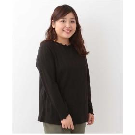 eur3 【大きいサイズ】首元フリルリブカットソー Tシャツ・カットソー,ブラック