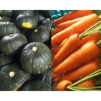 有機基準栽培かぼちゃ(栗将軍)4個+土付き人参3.5kg