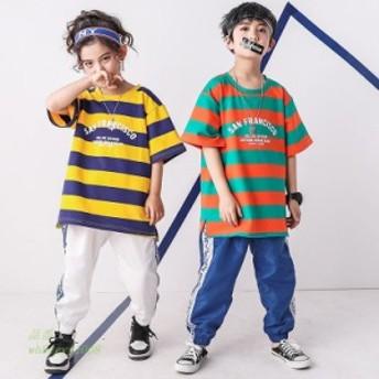 キッズダンス衣装 ヒップホップ キッズダンス ジャズダンス Tシャツ キッズ パンツ HIPHOP ダンス 衣装 屋外 夏 ダンス衣装キッズ