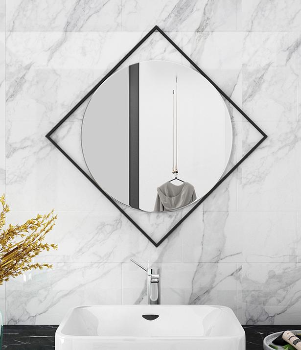 鏡子 裝飾鏡 60*60cm 北歐梳妝鏡 浴室鏡 衛生間鏡子 壁掛裝飾鏡 鏤空鏡 洗手間鏡簡約玄關鏡