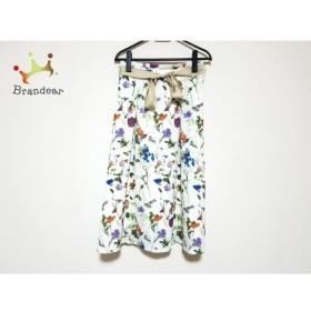 チェリーアン ロングスカート サイズ38 M レディース 美品 白×パープル×マルチ 花柄 新着 20190705