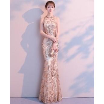 パーティドレス ロングドレス マキシ丈 ノースリーブ 30代 40代 ゴールド ドレス タイト 刺繍 スパンコール フィッシュテール フォーマル