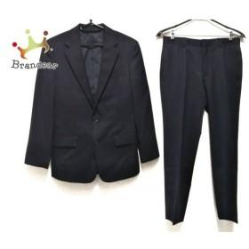 コムサデモードメン シングルスーツ サイズS メンズ 黒×グレー ストライプ/肩パッド 新着 20191030
