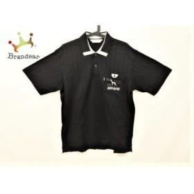 アダバット Adabat 半袖ポロシャツ メンズ 美品 黒×白×グレー ストライプ/刺繍  値下げ 20190927