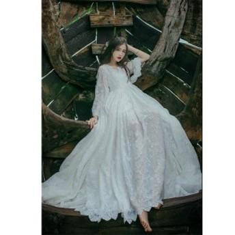 マキシワンピース レースワンピース ドレス 刺繍 結婚式 旅行 ビーチドレス 白 ホワイト 春 ロング マキシワンピ ワンピース