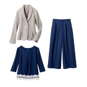 3点セット(ジャケット+ブラウス+パンツ)(プライベートレーベル) セレモニースーツ(式服・受験・七五三・発表会),women's suits ,plus size