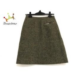マーガレットハウエル スカート サイズ2 M レディース 美品 カーキ×ダークブラウン 新着 20190705