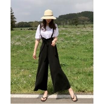 レディース ハイウエスト サロペット つなぎ パンツ リボン ブラック 春夏 ワイド 楽チン 韓国ファッション おしゃれ