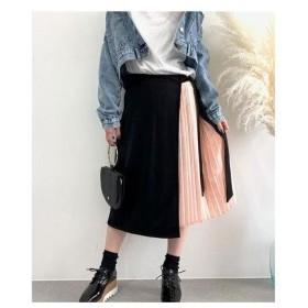チュクラ chuclla ラップ風プリーツスカート (ブラック×ピンク)