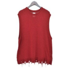 NAME. 18SS DAMAGED KNIT VEST コットンニットベスト レッド サイズ:2 (アメリカ村店) 190706