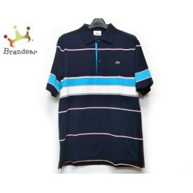 ラコステ Lacoste 半袖ポロシャツ サイズ4 XL メンズ 黒×ライトブルー×マルチ ボーダー   スペシャル特価 20190927