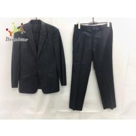 コムサデモードメン シングルスーツ サイズS メンズ 黒×グレー ストライプ/肩パッド 新着 20190705