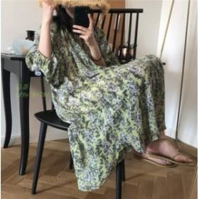 ワンピース レディース きれいめ 夏 オシャレ 韓国風 旅行 着痩せ 40 30 五分袖ワンピース 花柄 50代 Aラインワンピ ロング丈ワンピース
