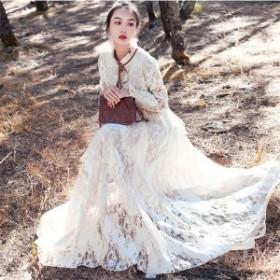 マキシ丈ワンピース マキシワンピ  二次会 結婚式ドレス レースドレス  ロングワンピース  お呼ばれ 服 体型カバー 旅行