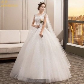 Aライン ブライダルドレス ウェデイングドレス パニエ付き 編み上げ 結婚式 ホワイトドレス プリンセスドレス 姫系 マキシ丈 花嫁ドレス