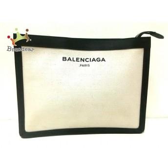 バレンシアガ BALENCIAGA クラッチバッグ 美品 - 410119 アイボリー×黒 キャンバス×レザー スペシャル特価 20190819