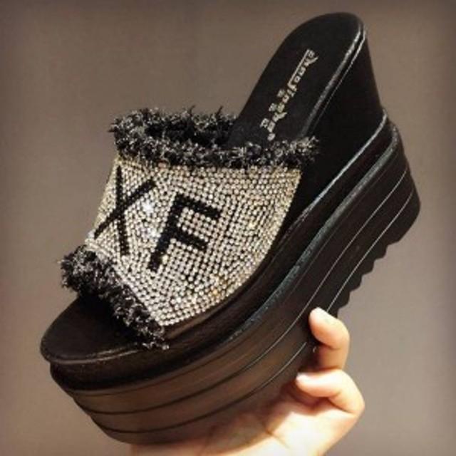 サボサンダル 厚底13cmサンダル レディース フラットフォーム サンダル サボ 高めヒール 夏靴 美 婦人靴 歩きやすいXZ