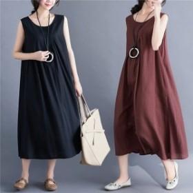 ワンピース ファッション レディース 丸いネック ノースリーブ ロング丈 ゆったり 着痩せ 夏 20代 30代 40代 韓国風