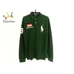 ポロラルフローレン 長袖ポロシャツ サイズM メンズ グリーン×白×マルチ 刺繍  値下げ 20190929