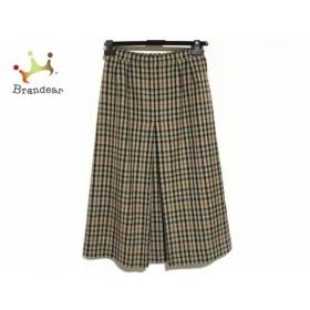 ダックス DAKS ロングスカート サイズ67-93 レディース 美品 ベージュ×黒×ブラウン チェック柄 新着 20190705
