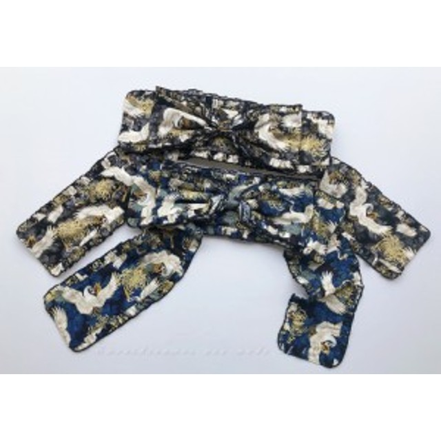 ロリータ SweetDreamerVintage 和風 帯風ベルト リボン 鶴菊模様 和ロリ ロリータ小物 着物風 和服風
