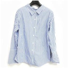 【中古】アナザーエディション ANOTHER EDITION アローズ シャツ オーバーサイズ ストライプ ロングカフス ブルー ホワイト 青 白 0629 レディース