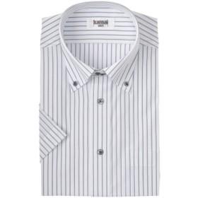 メンズ Kansai shirt 形態安定ストライプボタンダウンドレスシャツ(ゆったりシルエット)半袖