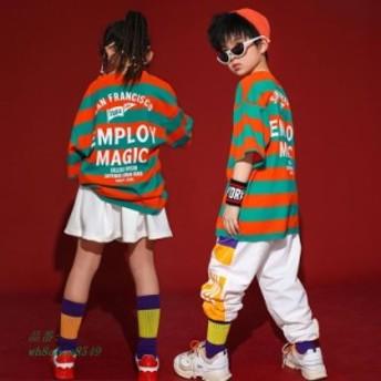 キッズダンス衣装 ヒップホップ HIPHOP Tシャツ 男の子 子供 パンツ スカート 練習着 ジャズダンス 運動会 チェック チア チアガール 応