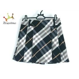 バーバリーブルーレーベル スカート サイズ38 M レディース 美品 黒×白×ベージュ チェック柄   スペシャル特価 20190929