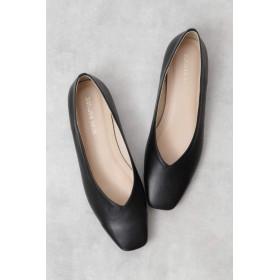 【公式/NATURAL BEAUTY BASIC】スクエアソフトフラット/女性/靴・パンプス/クロスムース/サイズ:24.5/(甲皮の使用材)合成皮革(底材の種類)合成底