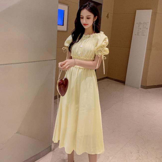 FOFU-連身裙一字領短袖褶皺修身顯瘦雪紡中長版連身裙【08G-M0919】
