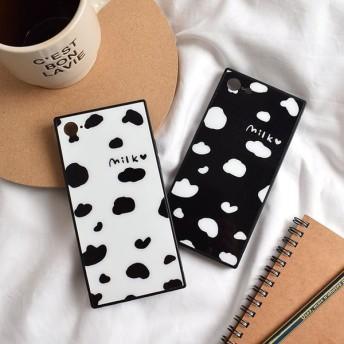 [スマホケース/iPhoneケース]【Milk Cow Point Pattern Soft TPU Square iPhone Case】うし・牛柄・ミルク・牛乳・カウ・キュート・ハート・iphone6・iPhone6s・