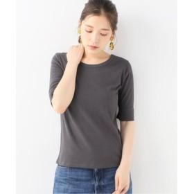 (La TOTALITE/ラ トータリテ)ハイツイストコットン5分袖Tシャツ/レディース グレー