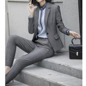 スーツ二点セット レディース チェック柄 ジャケットパンツフォーマル 細身オフィス ビジネス 入園式 入学式S~5XL-P345