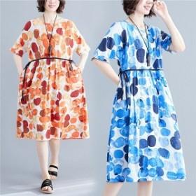 ワンピース ファッション 女性 レディース 花柄 上品 半袖 膝丈 切り替え 体形カバー ゆったり 着痩せ 夏 30代 40代