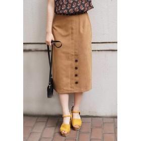 【公式/フリーズマート】スリット釦ピーチタッチタイトスカート/女性/スカート/キャメル/サイズ:FR/(表生地)ポリエステル 93% ナイロン 7%(裏生地)ポリエステル 100%