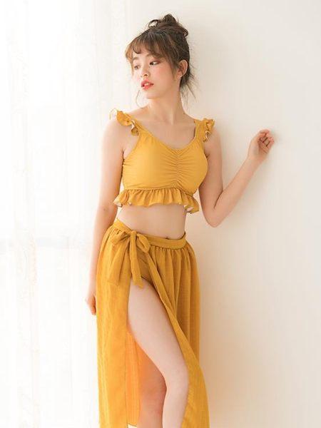 歐尚-小桃泳衣女分體三件套小胸聚攏性感顯白遮肚顯瘦韓國沙灘長裙泳裝