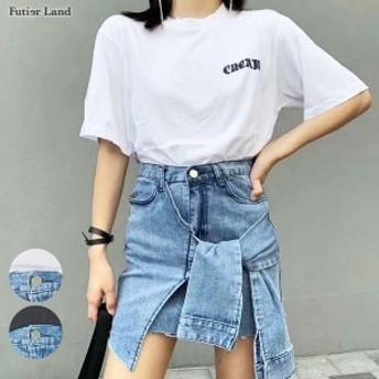 秋新作 セットアップ プリントT Tシャツ デニムスカート スカート セット 韓国 ファッション / プリントTシャツ×デザインデニムスカー