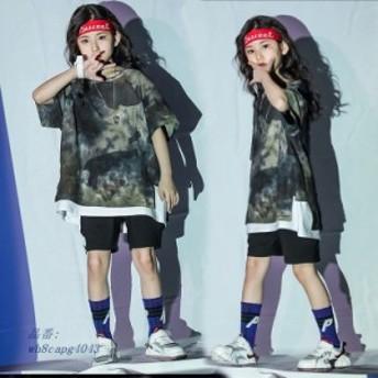 キッズ ダンス衣装 ヒップホップ 女の子 迷彩柄 ジャズダンス衣装 子供 練習着 迷彩Tシャツ 迷彩パンツ 男の子 JAZZ HIPHOP ステージ衣