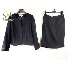 ナチュラルビューティー ベーシック スカートスーツ サイズL レディース 黒×パープル ツイード 新着 20190705