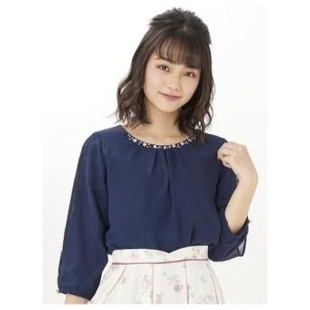 Cherite by PRIME PATTERN シルケットビジュー付き7分袖カットソー コン