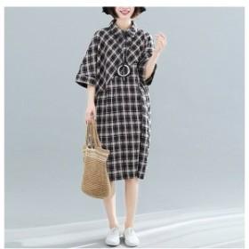 ワンピース ファッション レディース チェック柄 半袖 ロング丈 ゆったり 着痩せ 通勤 上品 夏 20代 30代 40代 新作