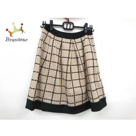 トゥービーシック TO BE CHIC スカート サイズ40 M レディース 美品 ベージュ×黒 チェック柄  値下げ 20191003